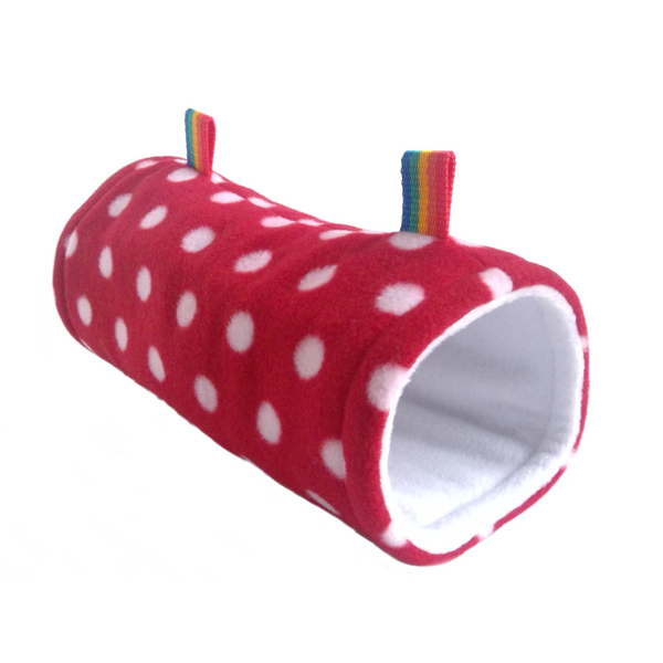 red and white polka dot hanging tunnel for rats degus sugar gliders