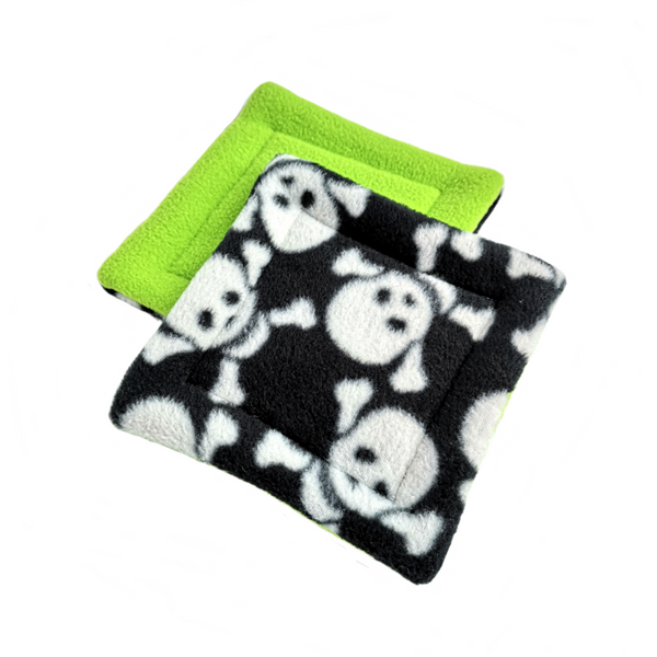 2 pet water bottle drip mats white skulls on black and lime green fleece