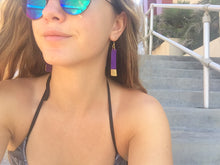 Gold Painted Purple Bar Suede Leather Earrings