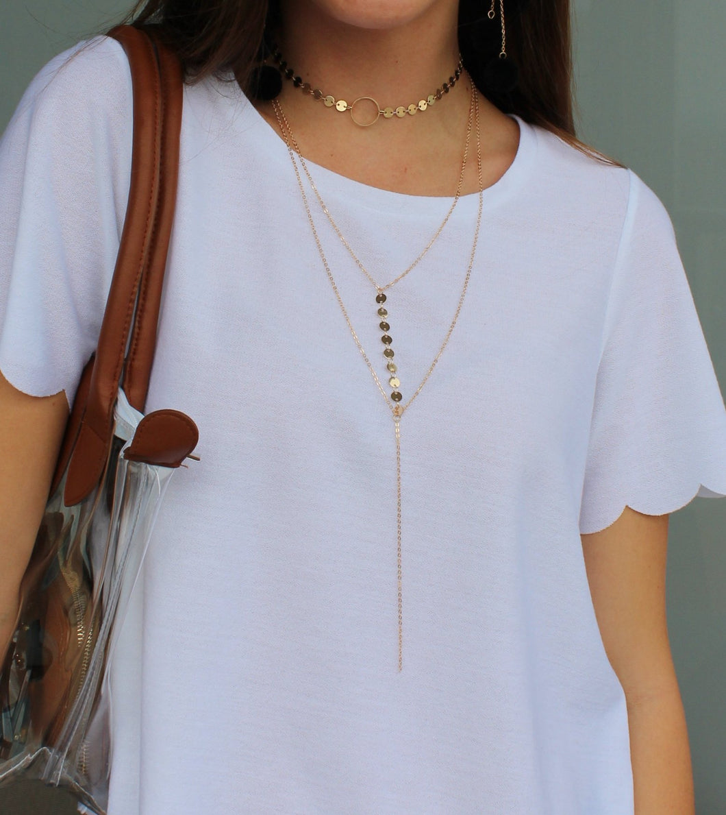 Layered Coin Lariat Necklace - Femme Fête