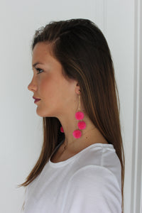 Pom Pom Earrings - Electric Pink - Femme Fête