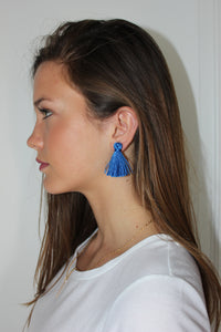 Mini Tassel Earrings - Cobalt - Femme Fête