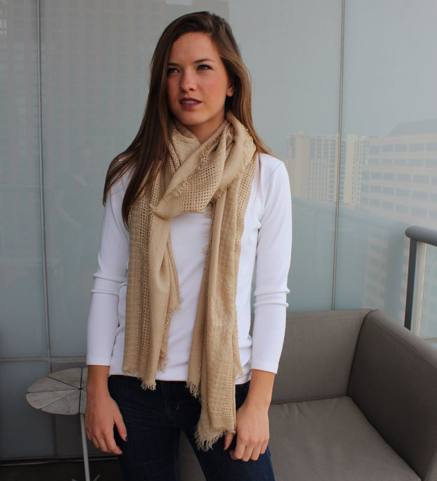 Camel Scarf with Frayed Edge