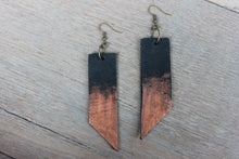 Copper Brushed Geometric Black Leather Earrings - Femme Fête
