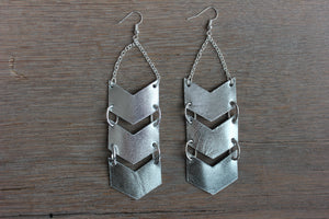Triple Chevron Silver Leather Earrings - Femme Fête