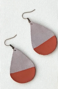 Orange Painted Teardrop Suede Leather Earrings