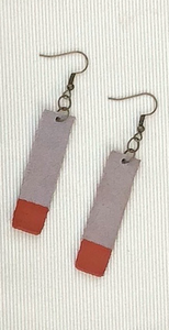 Orange Painted Bar Suede Leather Earrings