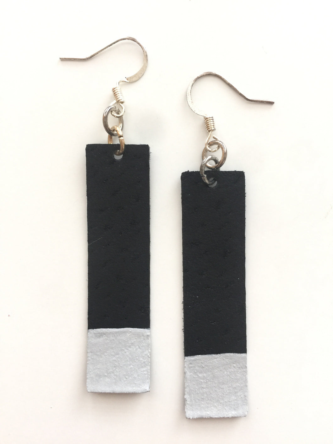 Silver Painted Black Bar Leather Earrings