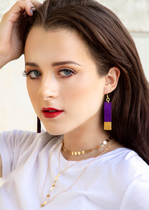 Gold Painted Purple Bar Suede Leather Earrings - Femme Fête