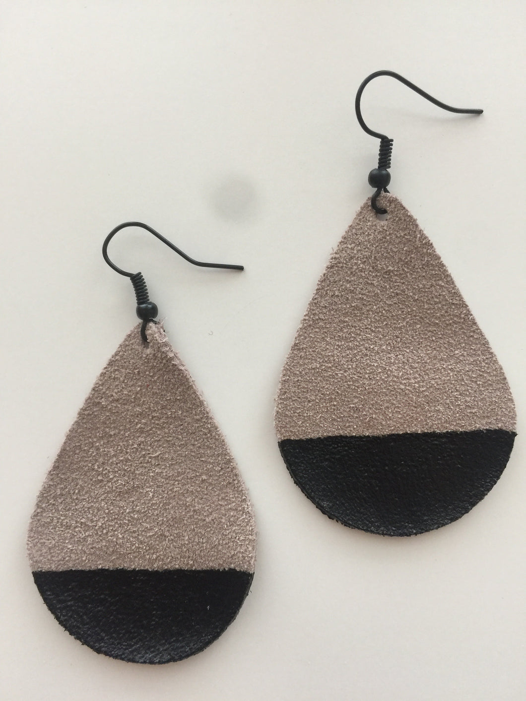 Black Painted Teardrop Suede Leather Earrings