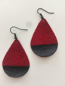 Black Painted Red Teardrop Suede Leather Earrings