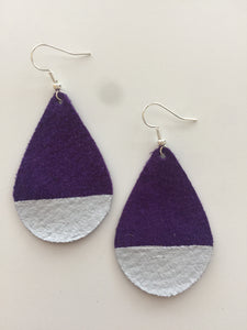 Silver Painted Purple Teardrop Suede Leather Earrings