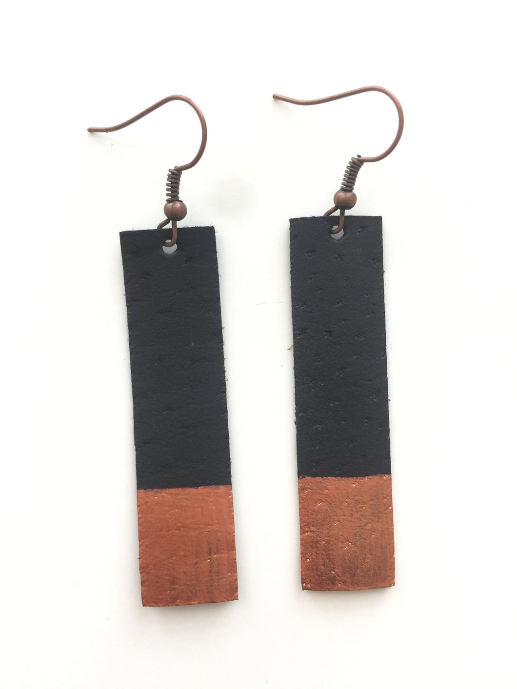 Copper Painted Black Bar Leather Earrings