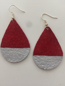 Silver Painted Red Teardrop Suede Leather Earrings