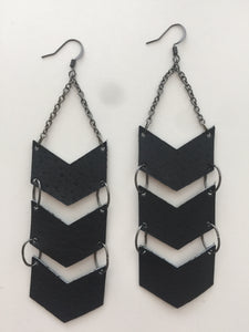 Triple Chevron Black Leather Earrings