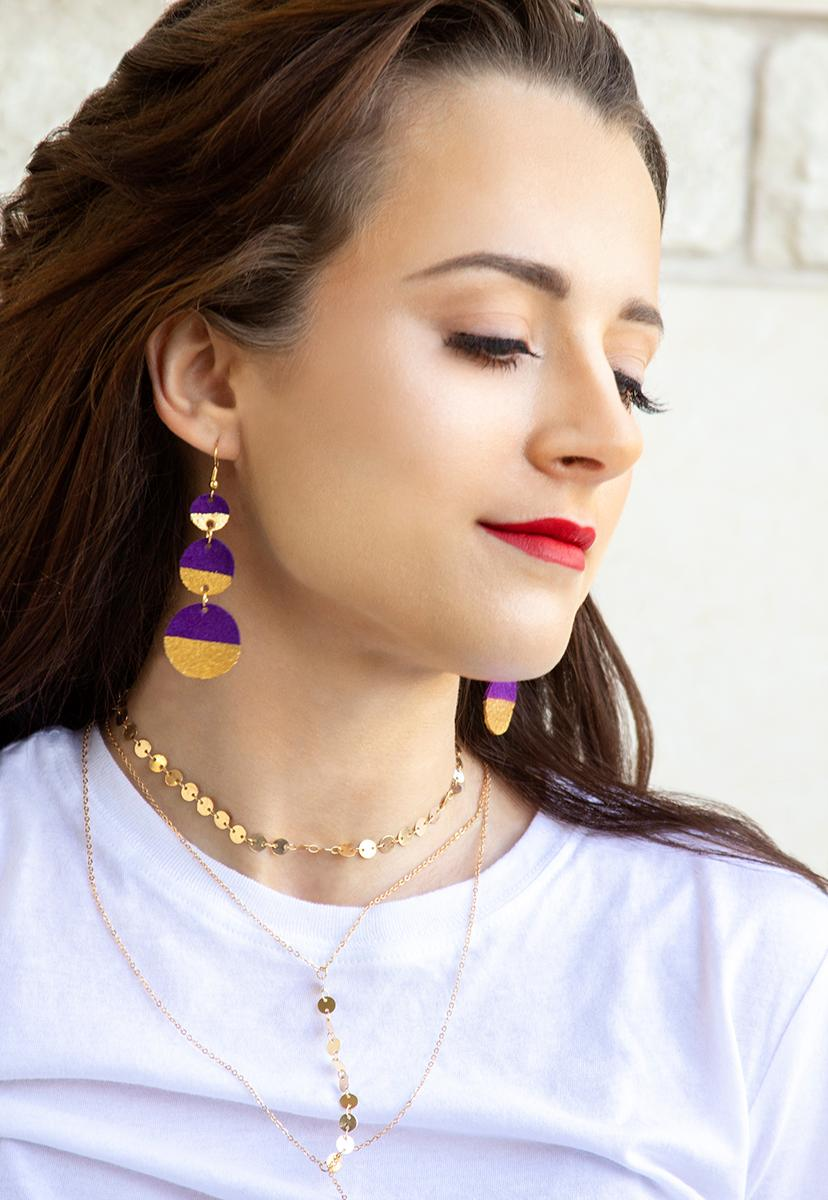 Gold Painted Triple Circle Suede Purple Leather Earrings - Femme Fête