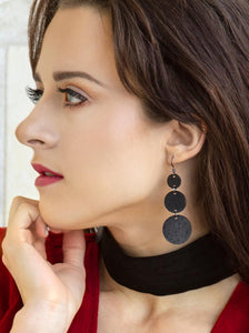 Black Triple Circle Genuine Leather Earrings - Femme Fête