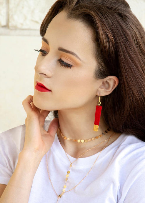 Gold Painted Red Bar Suede Leather Earrings - Femme Fête
