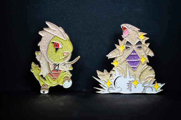 SET Shiny Larvitar and Tyranitar Pin