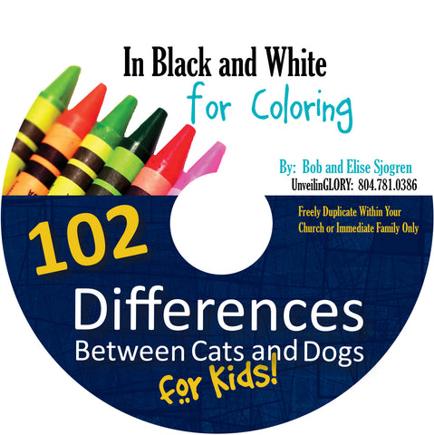 102 Differences Between Cats and Dogs for Kids:  B&W Coloring Pages - Download