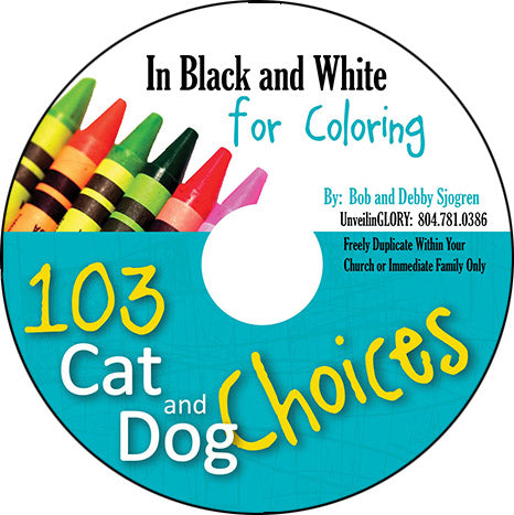 103 Cat and Dog Choices:  B&W Coloring Pages - Download