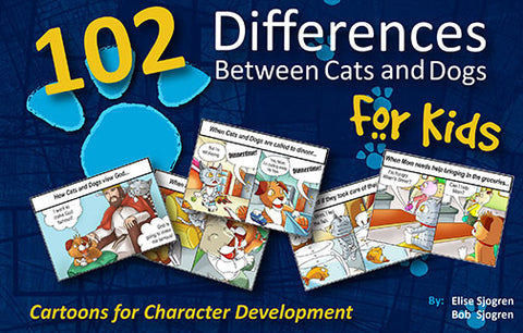 Cartoon Book - 102 Differences Between Cats and Dogs for Kids