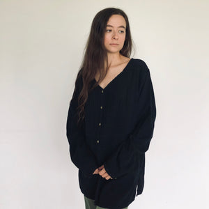 Textured Black Cotton Tunic