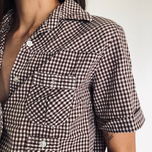 Brown Gingham Button Up