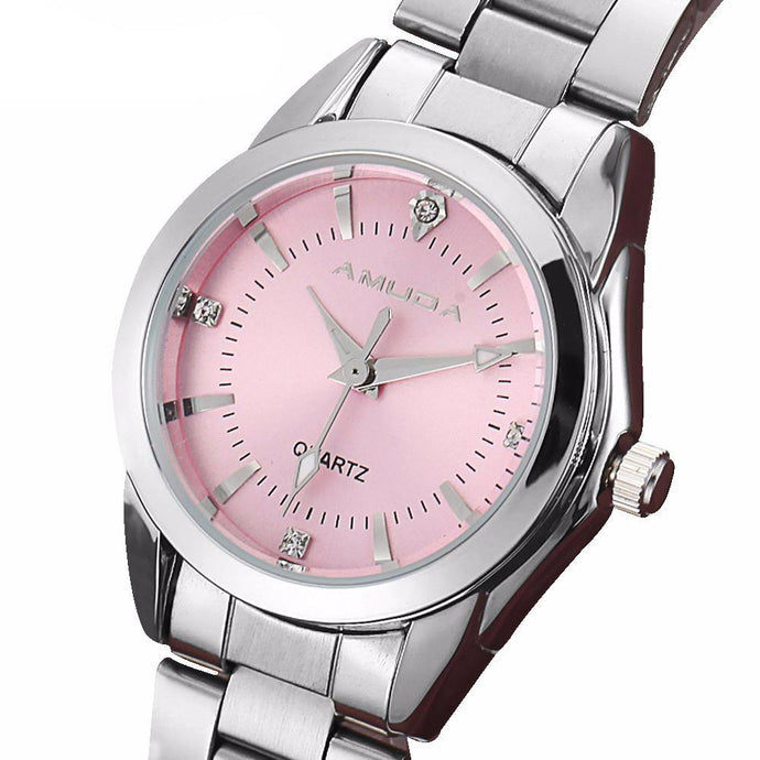 Women's Fashion Watch with Quartz Movement and Rhinestones on Face