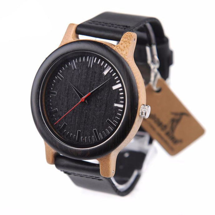 Men's Luxury Bamboo Watch with Black Leather Strap and Quartz Movement