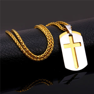 Men's Dog Tag Style Cross Pendant with the Lords Prayer Incripted Inside