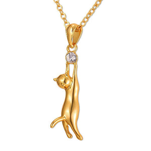 Cat Lover's Suspended Cat Necklace & Pendant in Silver/Gold Color with Rhinestone