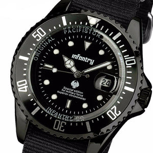 Men's INFANTRY Military Style Watch with Durable Nylon Strap and Quartz Movement