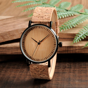 Men & Women's Wooden Dial Watch with Cork Strap