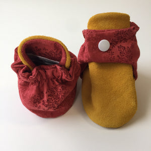 Red Nature and Tan Baby Booties