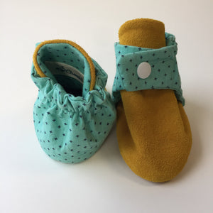 Mint Crosses and Tan Baby Booties
