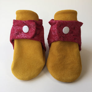 Red Sparkle and Tan Baby Booties