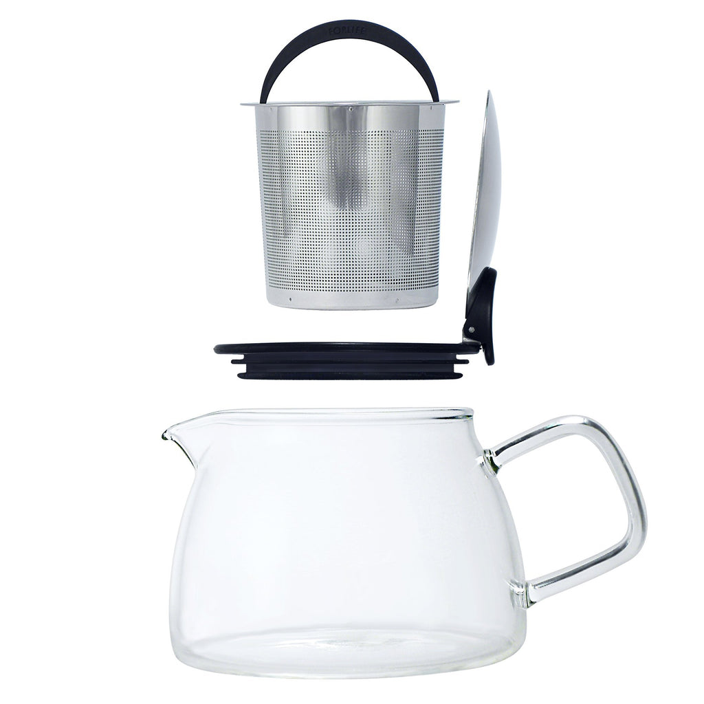 Bell Glass Teapot with Basket Infuser 14 oz - Black Graphite - Walters Bay