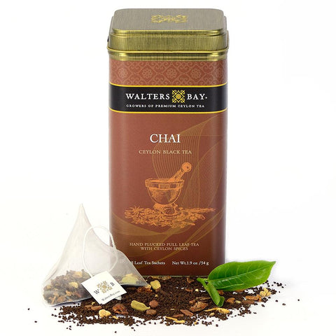 Chai Ceylon Black Tea Full Leaf Tea Bags in Canister Tin Main