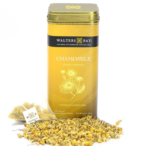 Chamomile Herbal Infusion Full Leaf Tea Bags in Canister Tin Main