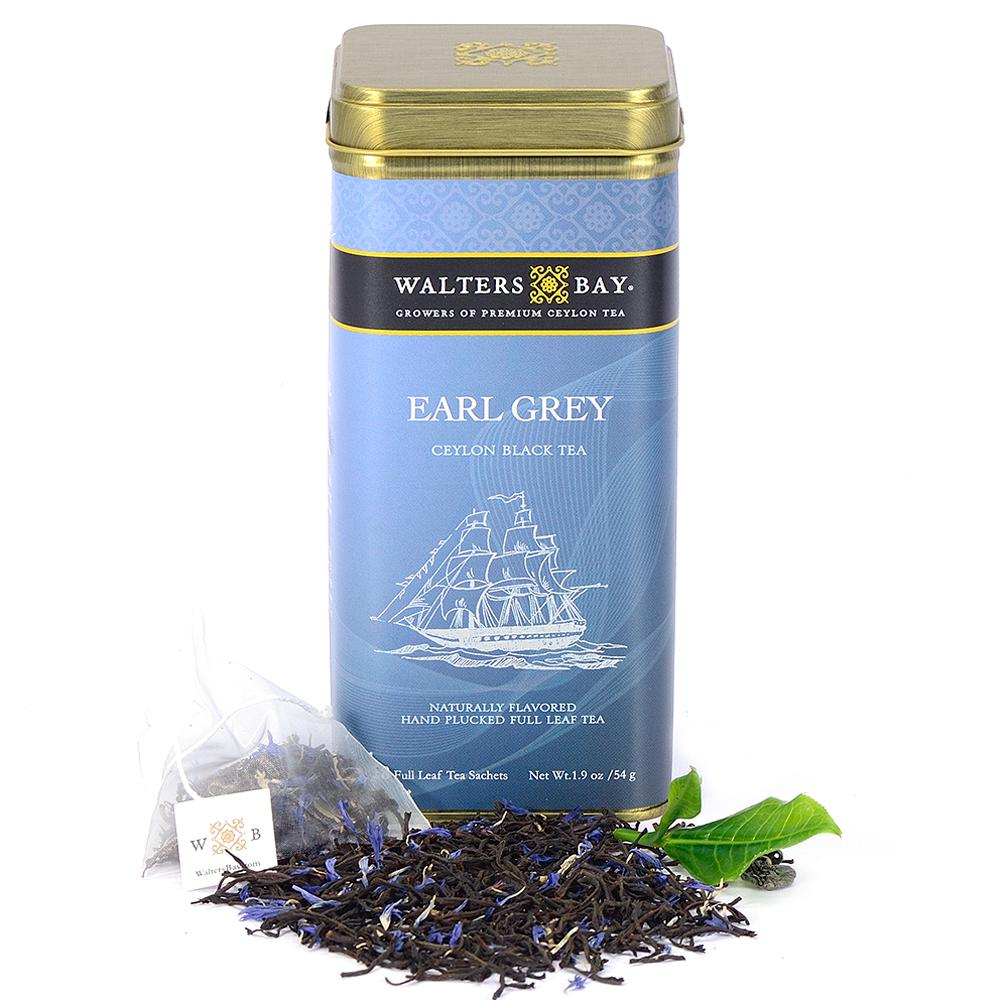 Earl Grey Ceylon Black Tea Full Leaf Tea Bags in Canister - Walters Bay