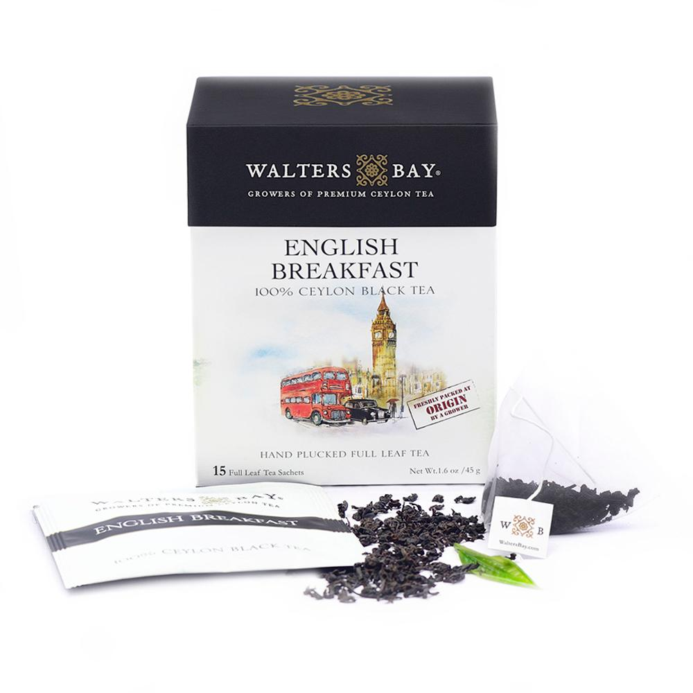 English Breakfast Ceylon Black Tea Full Leaf Tea Enveloped Tea Bags - Walters Bay