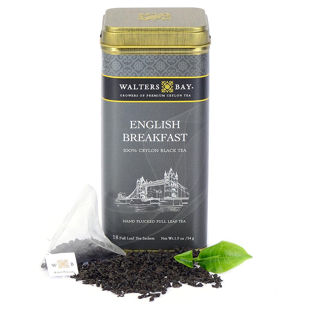 English Breakfast Ceylon Black Tea Full Leaf Tea Bags in Canister - Walters Bay