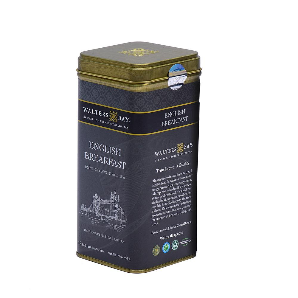 English Breakfast Ceylon Black Tea Full Leaf Tea Bags in Canister Tin Canister Side