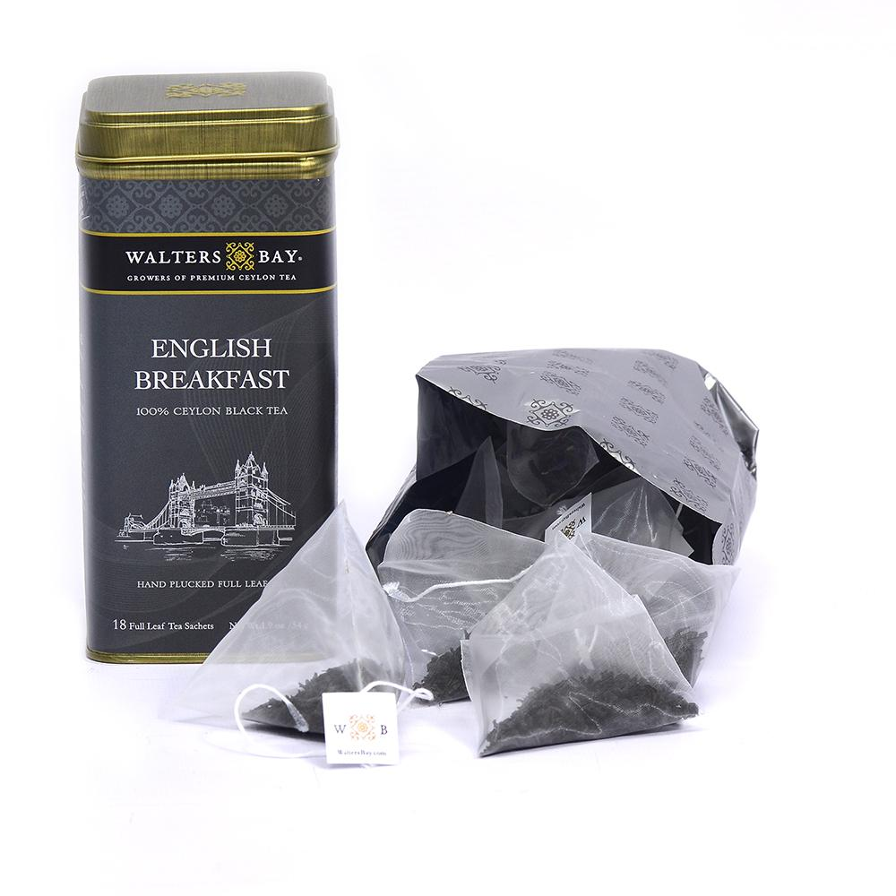 English Breakfast Ceylon Black Tea Full Leaf Tea Bags in Canister Tin Canister and Bag