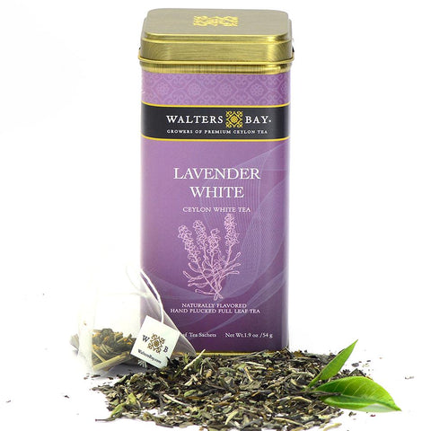 Lavender White Ceylon White Tea Full Leaf Tea Bags in Canister Tin Main