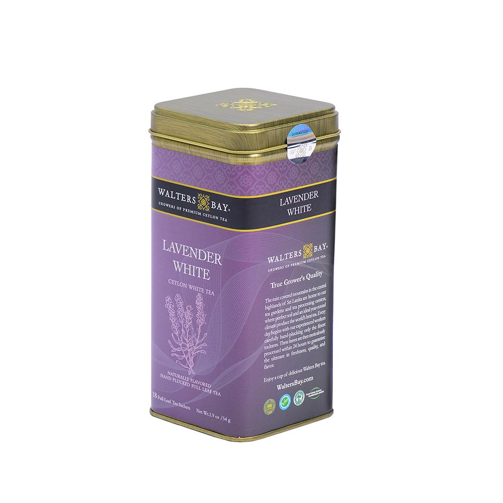 Lavender White Ceylon White Tea Full Leaf Tea Bags in Canister Tin Canister Side