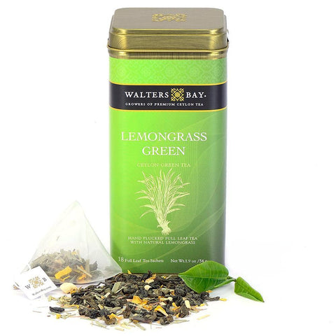 Lemongrass Green Ceylon Green Tea Full Leaf Tea Bags in Canister Tin Main