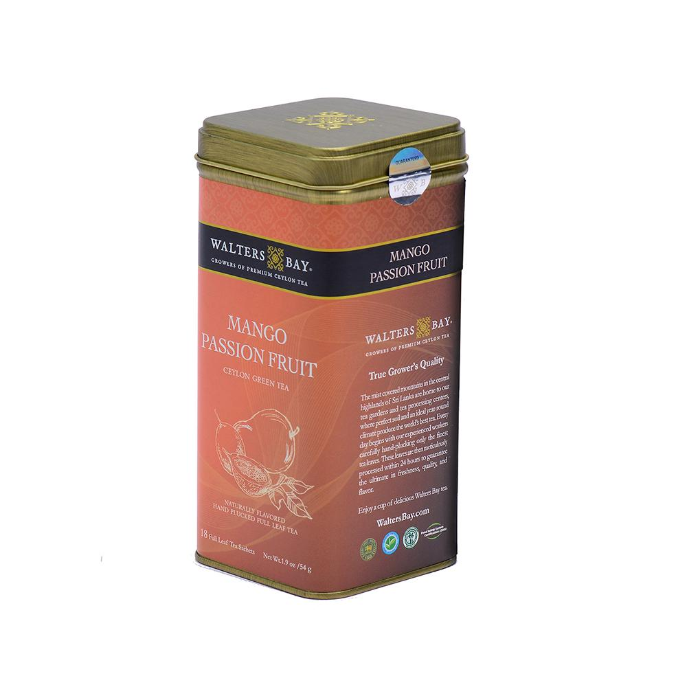 Mango Passion Fruit Ceylon Green Tea Full Leaf Tea Bags in Canister Tin Canister Side