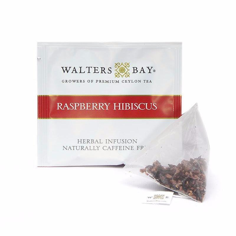 Raspberry Hibiscus Herbal Infusion Full Leaf Tea Enveloped Tea Bags Envelope and Tea Bag